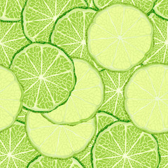 Seamless pattern with green and yellow lime slices, vector background for print design.