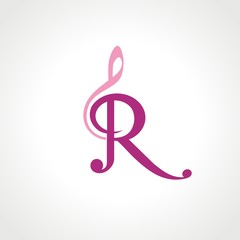 Letter R and Musical Symbol
