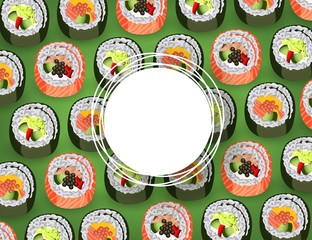 Sushi banner with fresh rolls pattern on green background and white round sticker with empty space for text - realistic japanese traditional seafood restaurant concept design. Vector illustration.