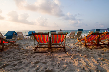 Beach chair prepare for welcome a Tourism on morning at tropical island, Samet Thailand