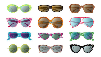Big set of colorful sunglasses
