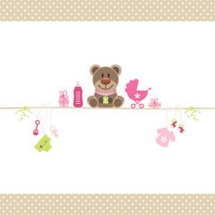 Brown Teddy & Baby Symbols Girl Retro Dots