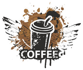 Vector banner on coffee theme in grunge style. A disposable paper coffee cup with wings and straw on the background of coffee stains and splashes