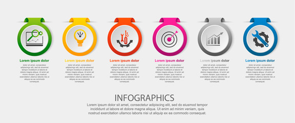 Modern vector illustration. Infographic template with the image of 6 circles, in the form of a label. 3d style six elements. Used for business presentations, education, web design, diagrams