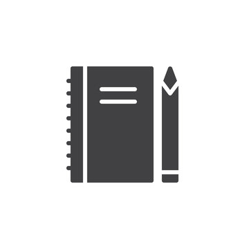 Spiral notebook and pen vector icon. filled flat sign for mobile concept and web design. Note pad stationery simple solid icon. Symbol, logo illustration. Pixel perfect vector graphics
