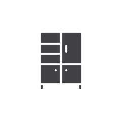 Wardrobe vector icon. filled flat sign for mobile concept and web design. Cupboard simple solid icon. Furniture symbol, logo illustration. Pixel perfect vector graphics