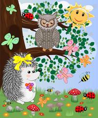 Forest landscape, cartoon illustration with ladybirds, mushrooms, mushrooms, sun, hedgehog, sleepy, unhappy owl, butterflies