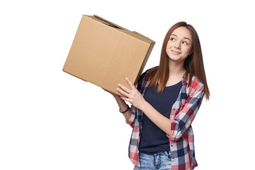 Delivery, relocation and unpacking. Smiling young woman holding cardboard box isolated on white background