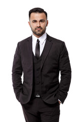 handsome elegant sexy man in suit