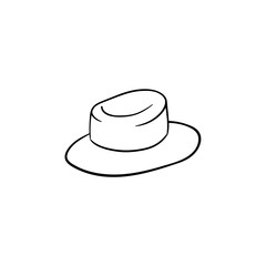 Straw women panama hand drawn outline doodle icon. Sun hat vector sketch illustration for print, web, mobile and infographics isolated on white background.