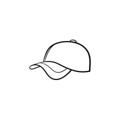 Baseball hat hand drawn outline doodle icon. Cap vector sketch illustration for print, web, mobile and infographics isolated on white background.
