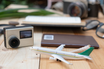 travel concept flat lay styles closeup with plane