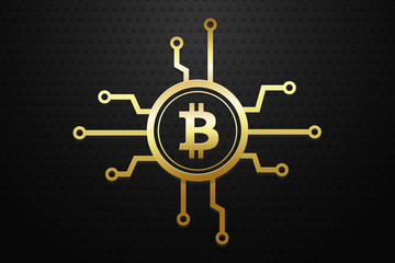 Bitcoin cryptocurrency concept with golden electronic circuits vector illustration