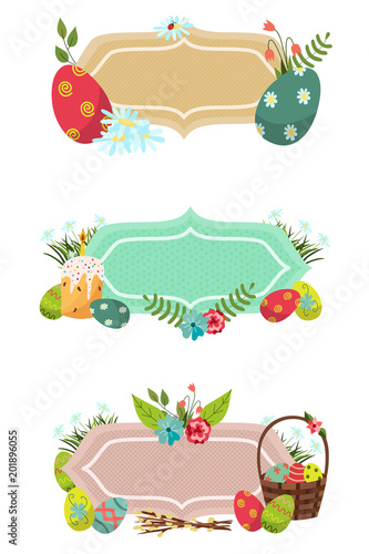 vector easter holiday banner poster template set with spring