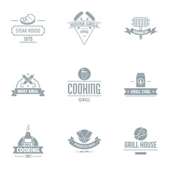 Meat restaurant logo set. Simple set of 9 meat restaurant vector logo for web isolated on white background