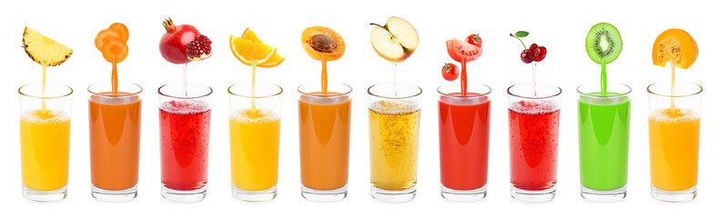 Aluminium Prints Juice Collection of fresh juices