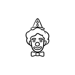 The face of clown hand drawn outline doodle icon. Circus clown with toy nose on face vector sketch illustration for print, web, mobile and infographics isolated on white background.