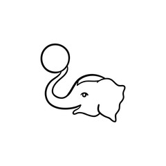 Circus elephant hand drawn outline doodle icon. Elephant playing with ball vector sketch illustration for print, web, mobile and infographics isolated on white background.