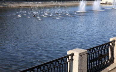 fountain on river at day