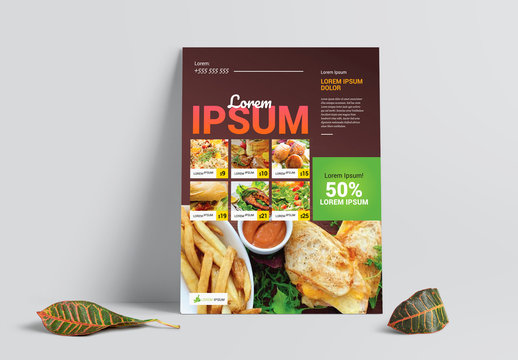 Food & Restaurant Brown Flyer Layout with Yellow and Green Accents