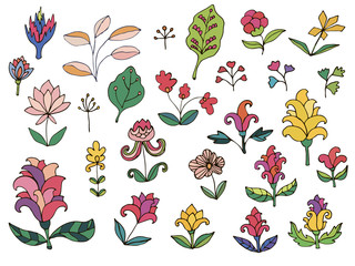 Colorful fantasy flowers set. Set of thin line doodle floral elements isolated on white background. Vector illustration.