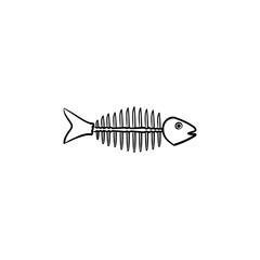 Rotten fish skeleton with bones hand drawn outline doodle icon. Bone skeleton of rotten dead fish vector sketch illustration for print, web, mobile and infographics isolated on white background.