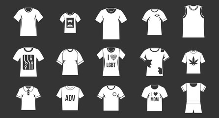 Tshirt icon set vector white isolated on grey background
