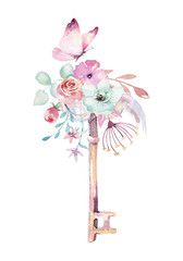 Isolated cute watercolor unicorn keys clipart with flowers. Nursery unicorns key illustration. Princess rainbow poster. pink magical poster