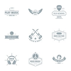 Rock music logo set. Simple set of 9 rock music vector logo for web isolated on white background