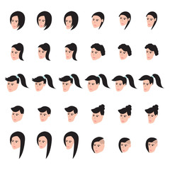 Isometric female faces vector set. Faces icon set. Chubby, normal and thin. Vector.