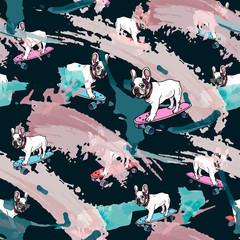 French Bulldog on skateboard and smears seamless pattern.