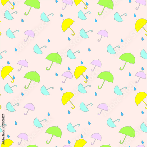Seamless Pattern With Cute UmbrellasCan Be Used For Wallpaperfabric Web Page