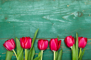 Tulip bouquet frame on green wooden background, copy space