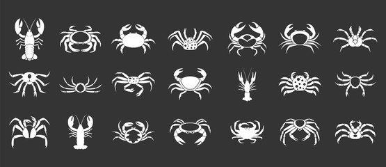 Cancer icon set vector white isolated on grey background