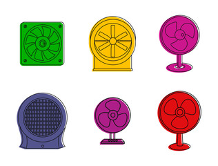 Fan icon set. Color outline set of fan vector icons for web design isolated on white background