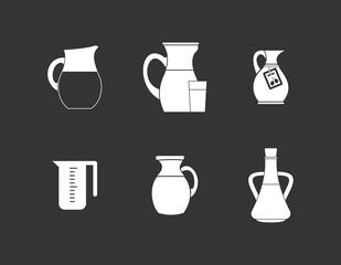 Jug icon set vector white isolated on grey background
