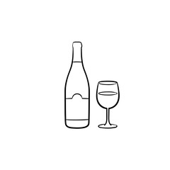 Wine bottle hand drawn outline doodle icon. Vector sketch illustration of bottle and glass of wine for print, web, mobile and infographics isolated on white background.