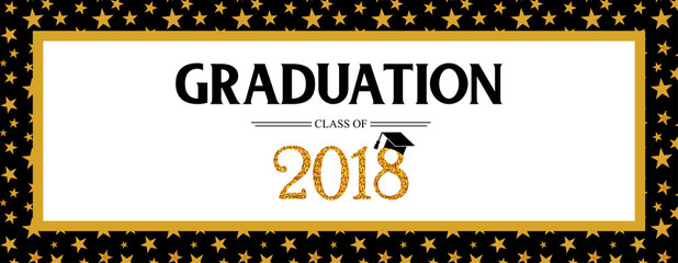 Graduation Class of 2018 greeting banner template. Vector party invitation banner. Grad poster.