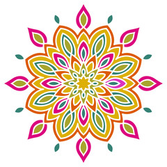 Colorful abstract mandala flower isolated on white background. Vector illustration.