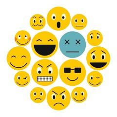 Flat emoticon icons set. Universal emoticon icons to use for web and mobile UI, set of basic emoticon elements isolated vector illustration