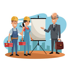 Workers with businessman at construction zone cartoons vector illustration graphic design