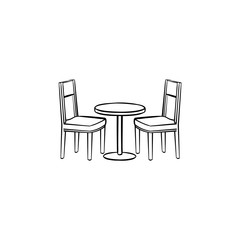 Restaurant furniture hand drawn outline doodle icon. Side view of restaurant furniture - table and chairs vector sketch illustration for print, mobile and infographics isolated on white background.