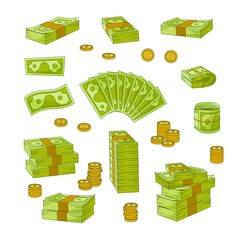 Set of various wads, stacks, rolls and piles of dollars, banknotes, bills, coins, flat vector illustration isolated on white background. Set of money - dollars, banknotes, bills and coins