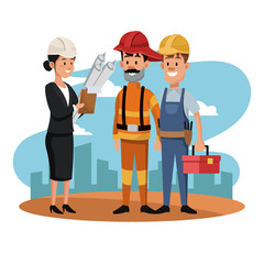 Female architect with firefigther and worker at construction zone vector illustration graphic design
