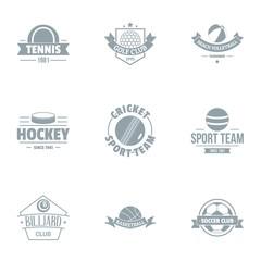 Hockey logo set. Simple set of 9 hockey vector logo for web isolated on white background