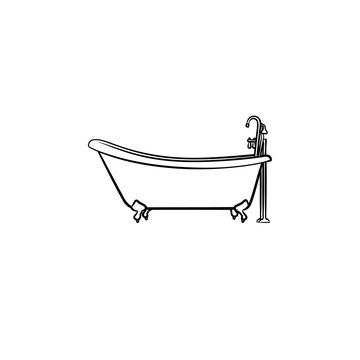 Bathtub with tap hand drawn outline doodle icon. Bathroom furniture - bathtub vector sketch illustration for print, web, mobile and infographics isolated on white background.