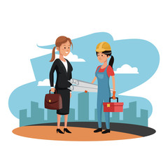Female worker and architect at construction zone vector illustration graphic design