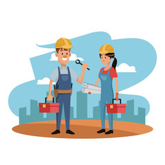 Workers at construction zone with toolbox vector illustration graphic design
