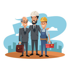 Construction teamwork at construction zone cartoon vector illustration graphic design