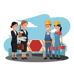 Worker with business teamwork at construction zone vector illustration graphic design